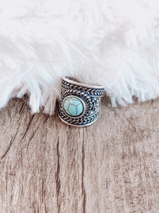 Turquoise and Silver Boho Ring