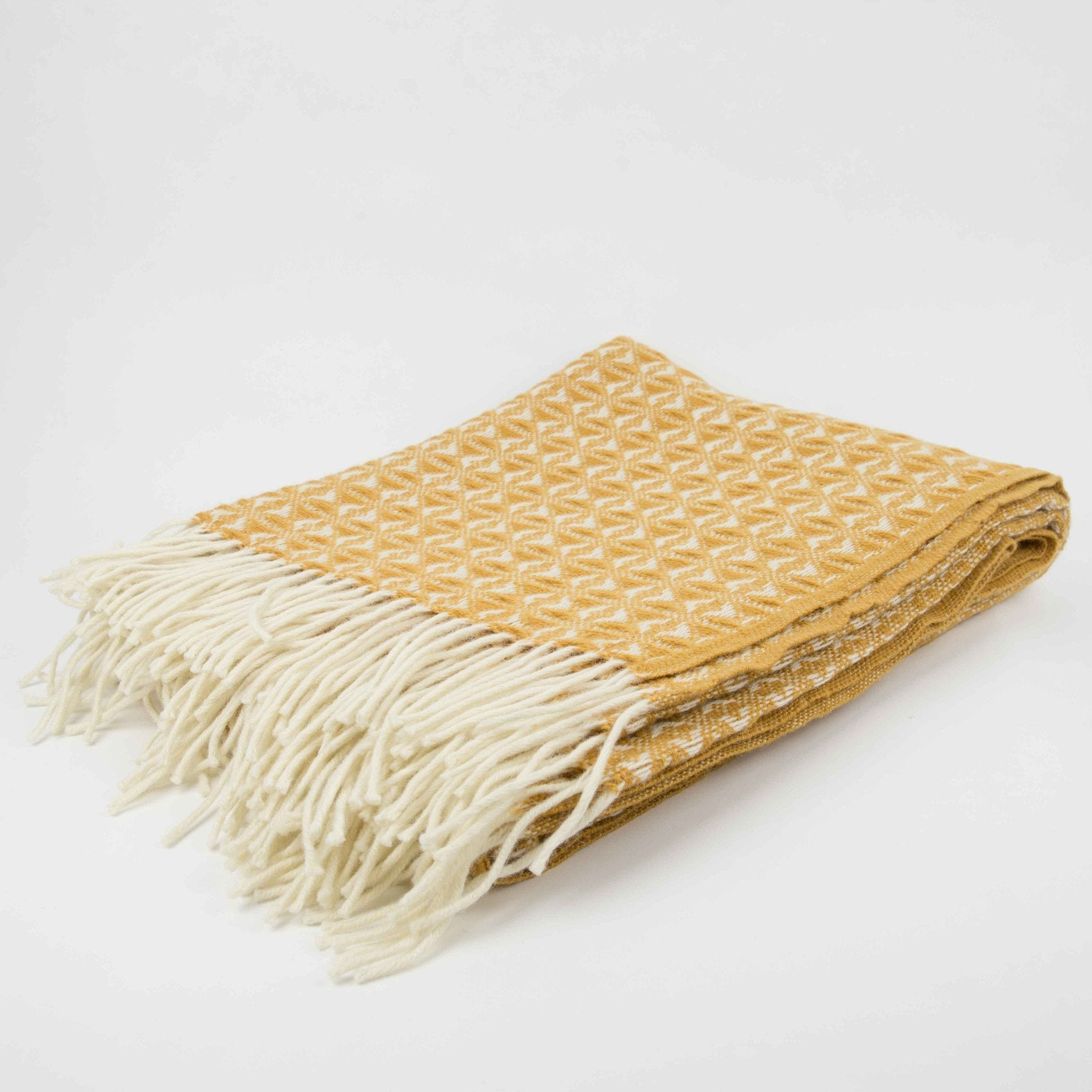 Tweedmill Mustard Cobweave  Throw