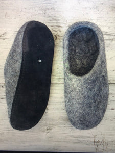Dark Grey Felt Slippers