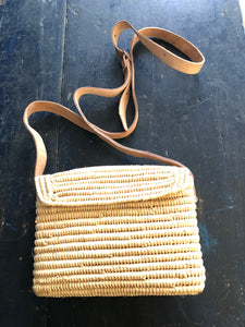 Raffia Bag with leather strap