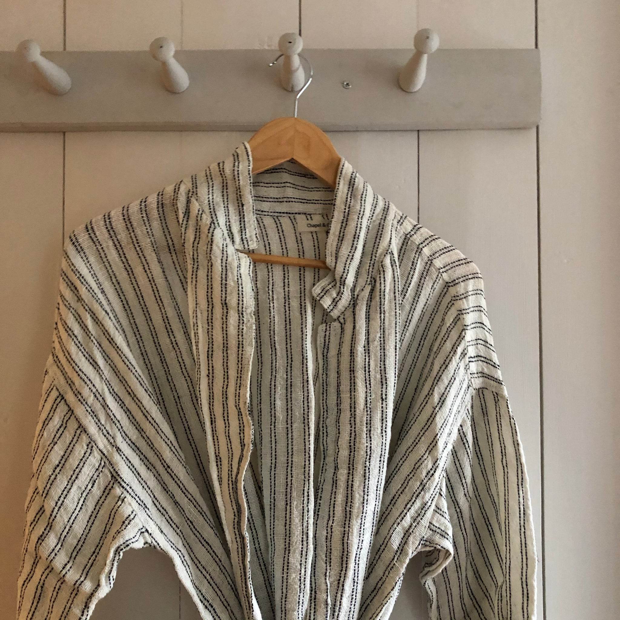 White & Black Stripe Linen Robe