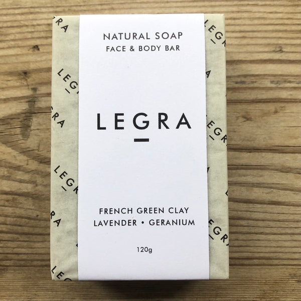 LEGRA soap French Green Clay Soap with Lavender, Geranium & Patchouli