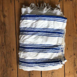 Vintage Moroccan throw - blue and white