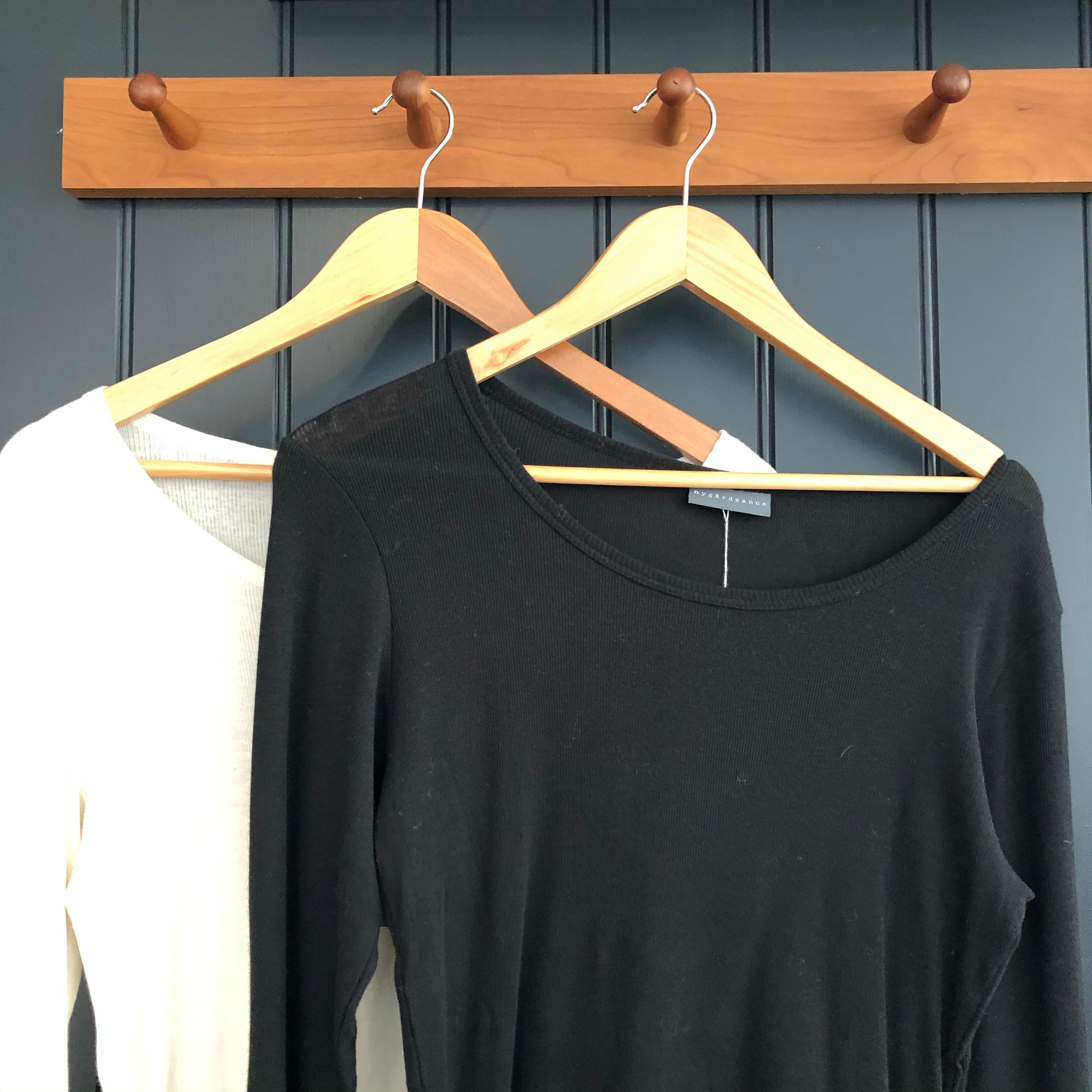 Long Sleeve Black Ribbed Cotton Top