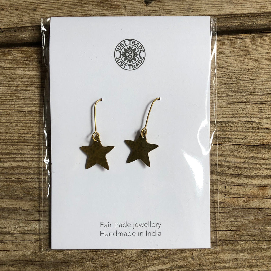 Hammered Brass Star Earrings