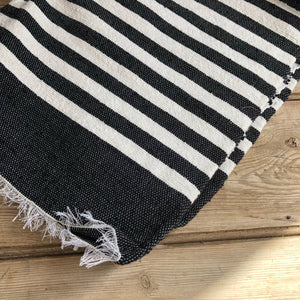 Moroccan Cotton Rug Navy and White Stripe