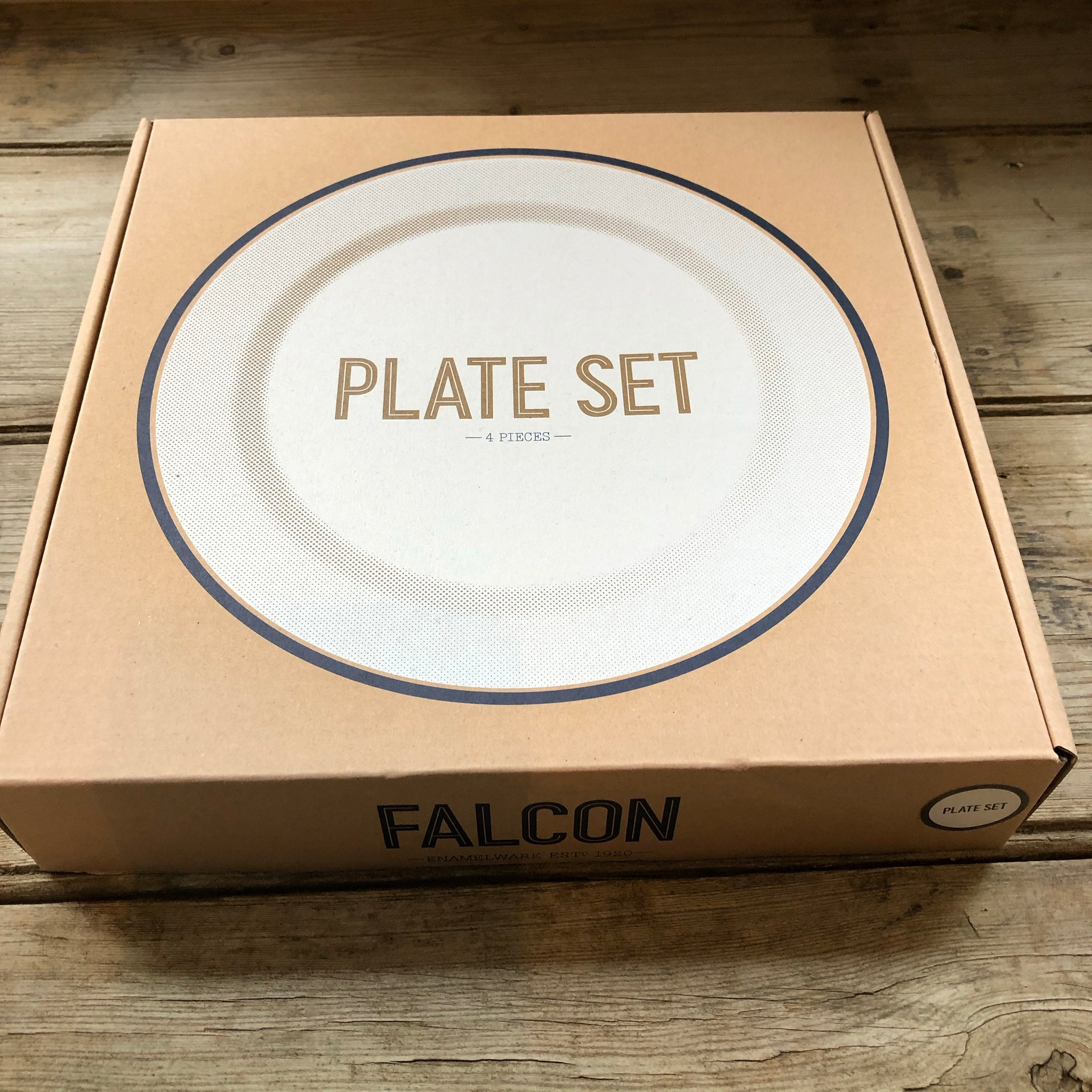 Falcon Enamelware White with Pigeon Grey plate