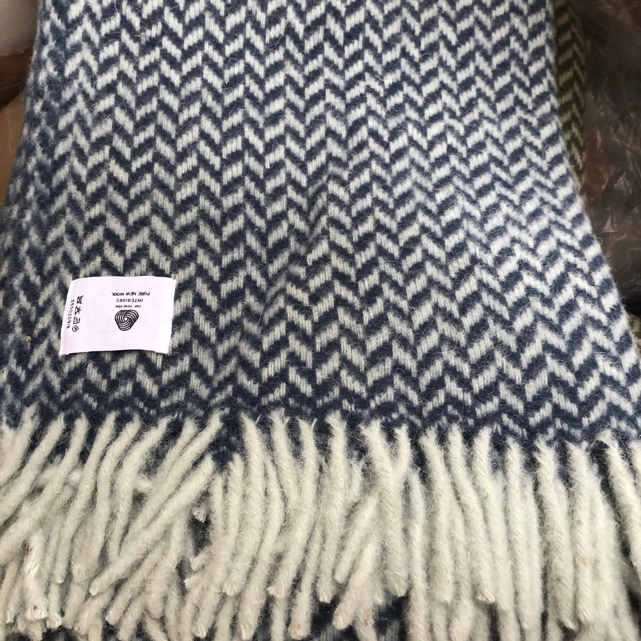 Herringbone Wool Blanket Blue