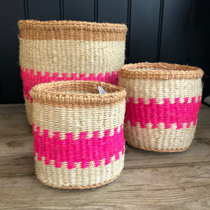 Fluoro Pink and Natural Pattern Sisal Basket