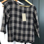 Black Check Linen Blouse