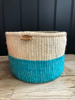 Turquoise Colour Block Sisal Basket