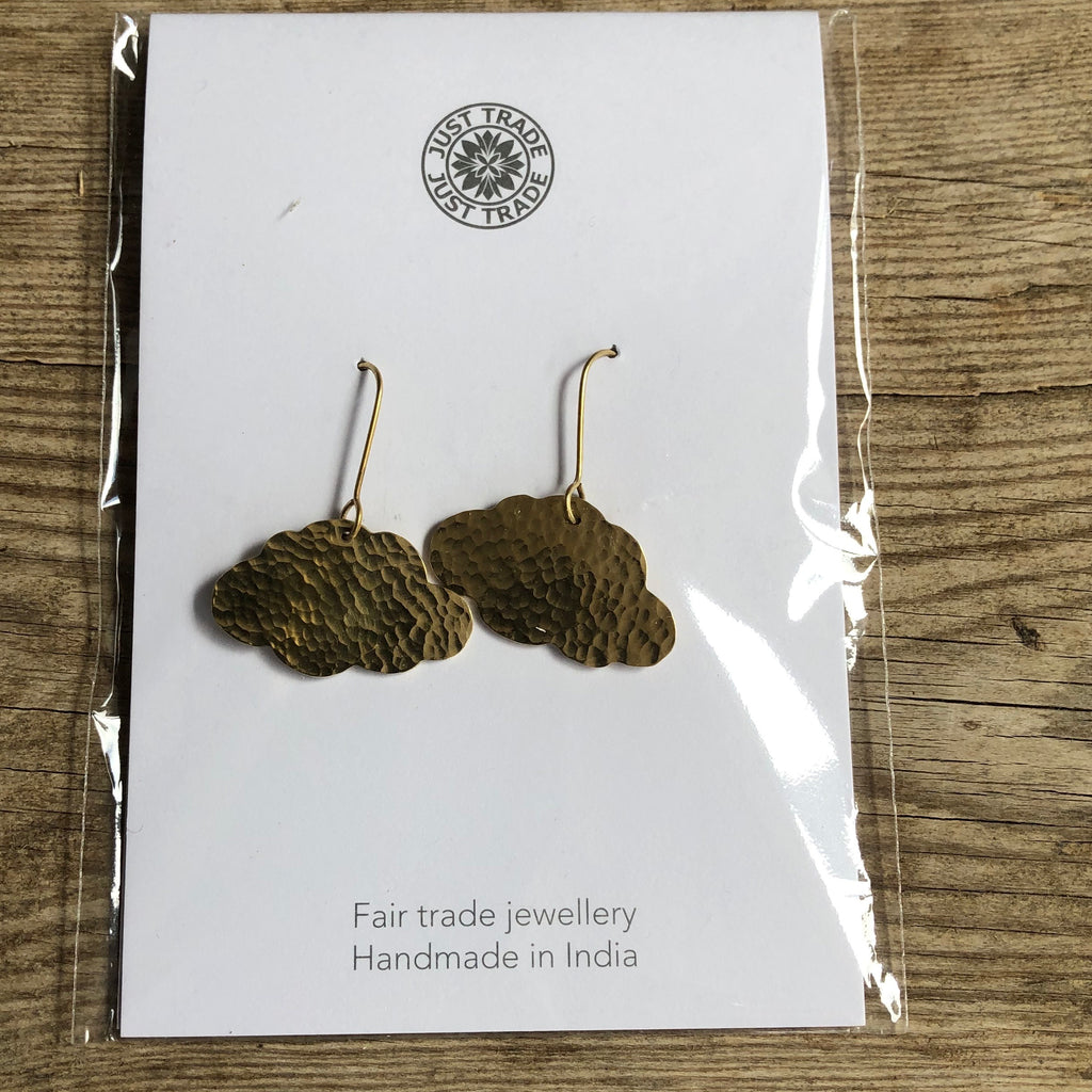 Hammered Brass Cloud Earrings