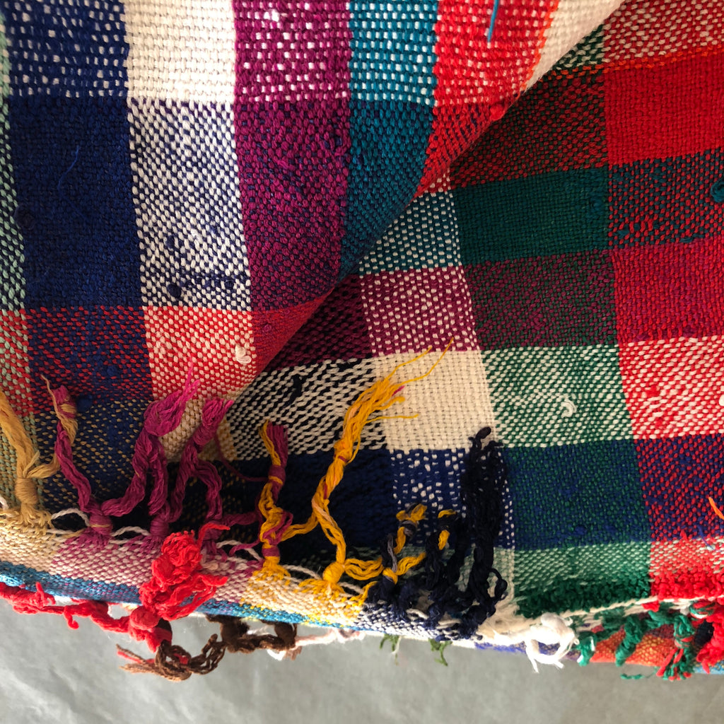 Vintage Moroccan Throw - Multicolour Check