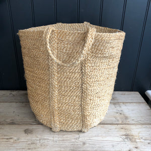 Tall Natural Jute Basket with handles