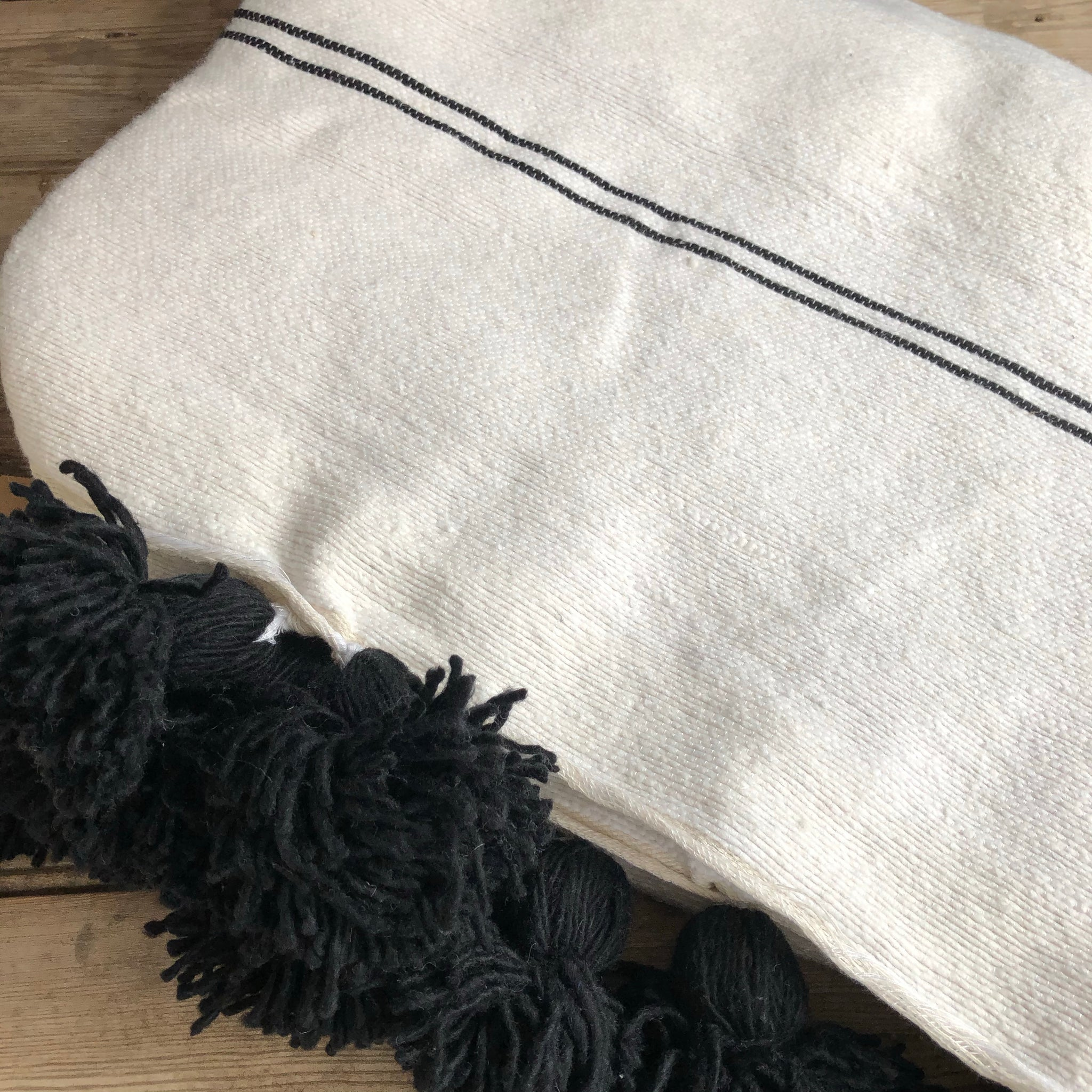 Moroccan Cotton Tassel Bedspread - Black & White Thin Stripe