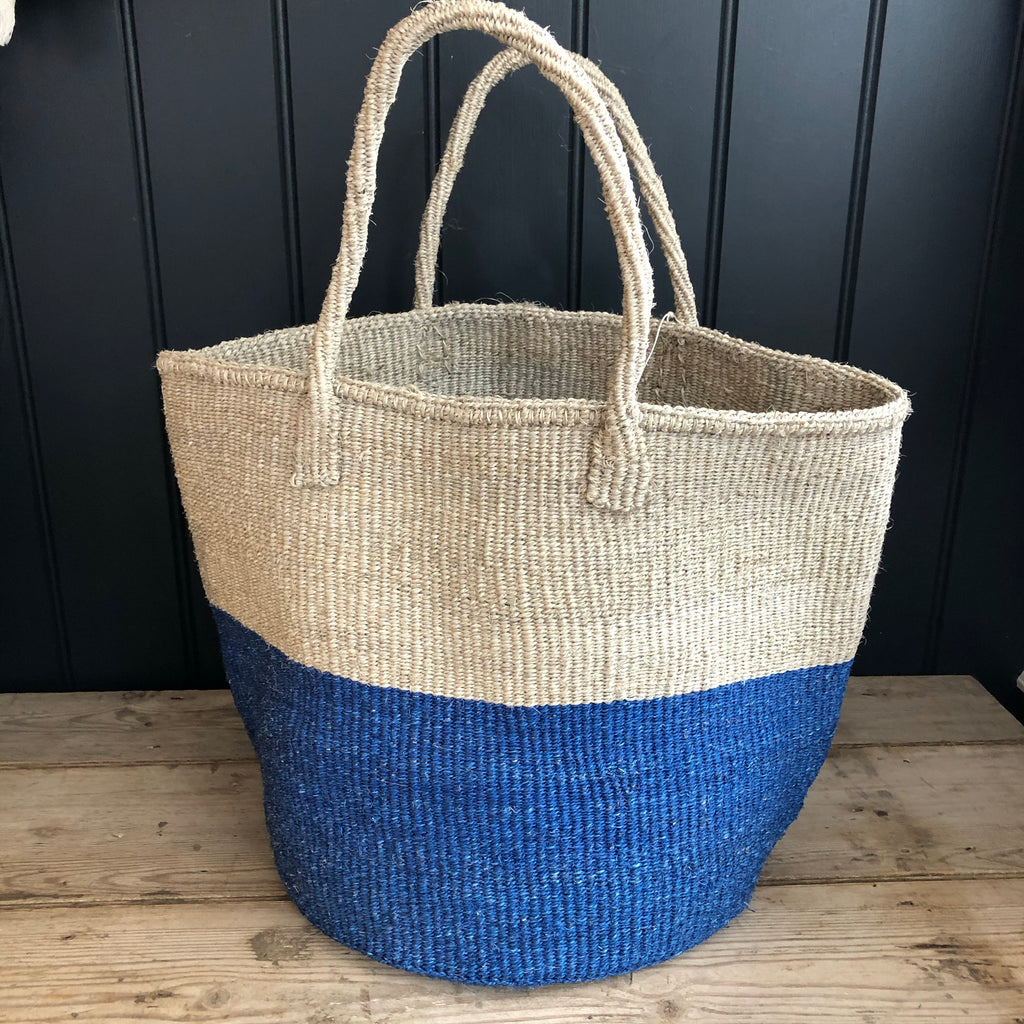 Blue & Grey Colour Block Sisal Shopper
