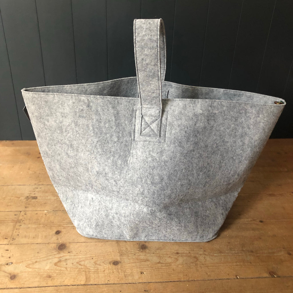 Tweed mill Silver Grey Felt Log Basket