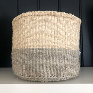 Pale Grey Colour Block Sisal Basket