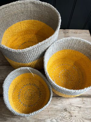 Yellow & Grey Colour Block Sisal Basket