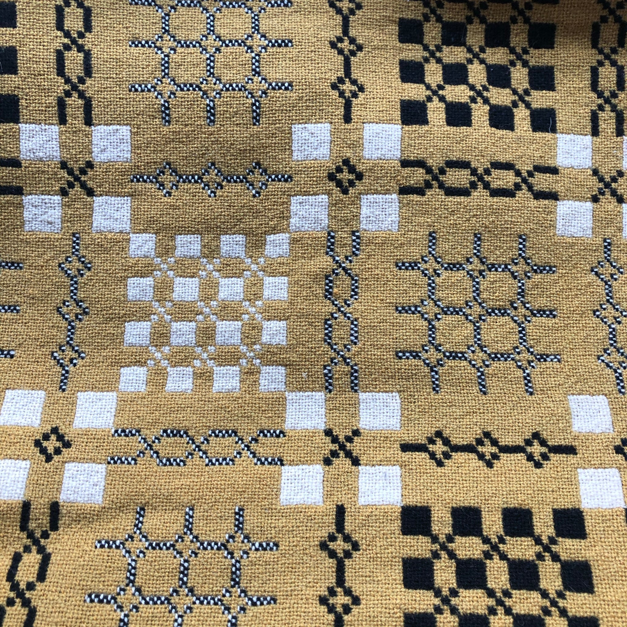 Vintage Welsh Tapestry Blanket - Mustard and Black