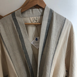 Cotton and Linen Bathrobe / Lounge Gown white and blue stripe