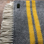 Tweedmill Fishbone  Grey /Yellow Two stripe Throw