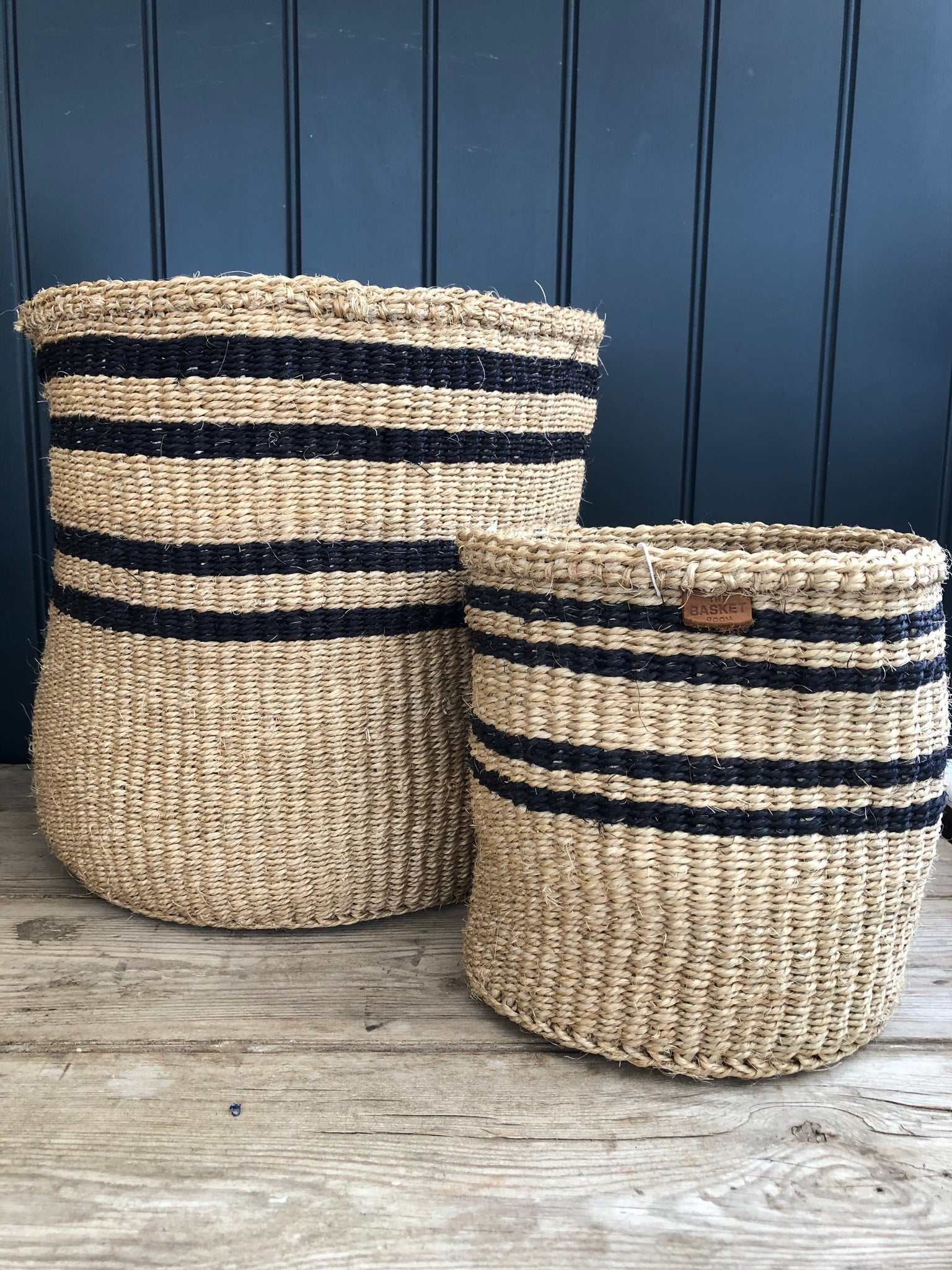 Charcoal and Natural Thin Stripe Sisal Basket