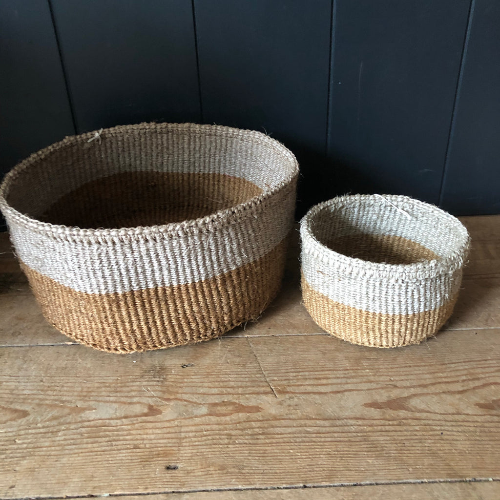 Grey & Tan Colour Block Sisal Basket