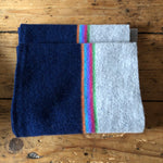 Navy Rainbow stripe scarf
