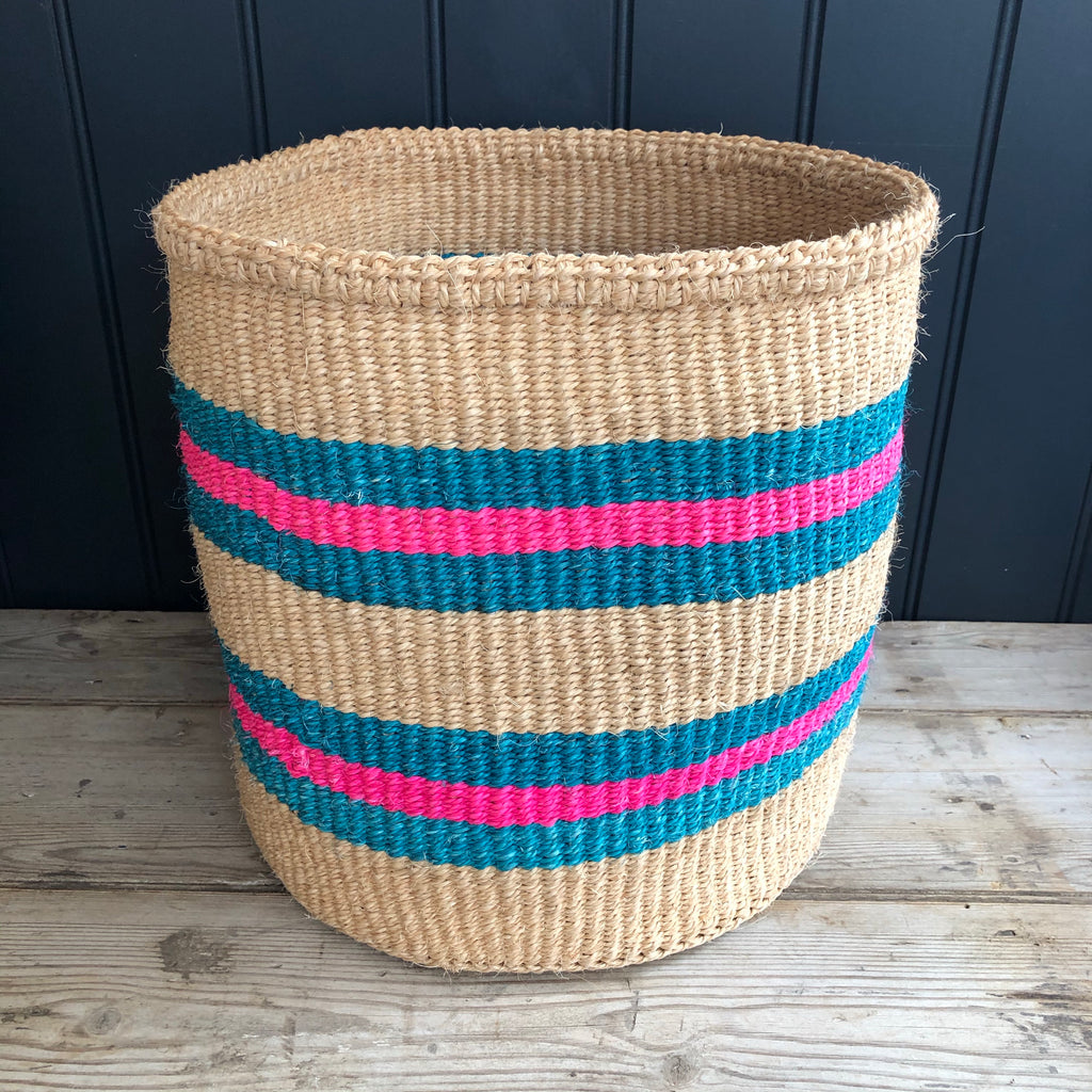 Turquoise and Pink Stripe Sisal Basket