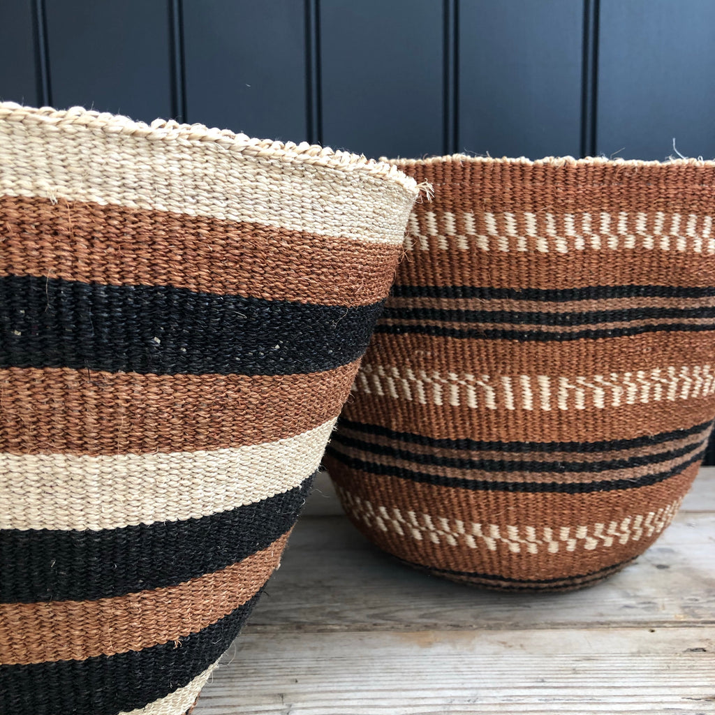 Black and Brown Stripe Sisal Basket