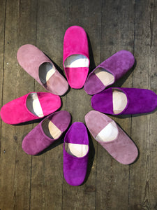 Moroccan Suede Slippers - Pinks