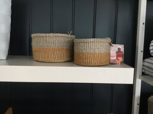 Brown and grey colour block woven basket