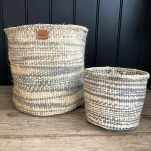 Pale Grey and White Stripe Sisal Basket