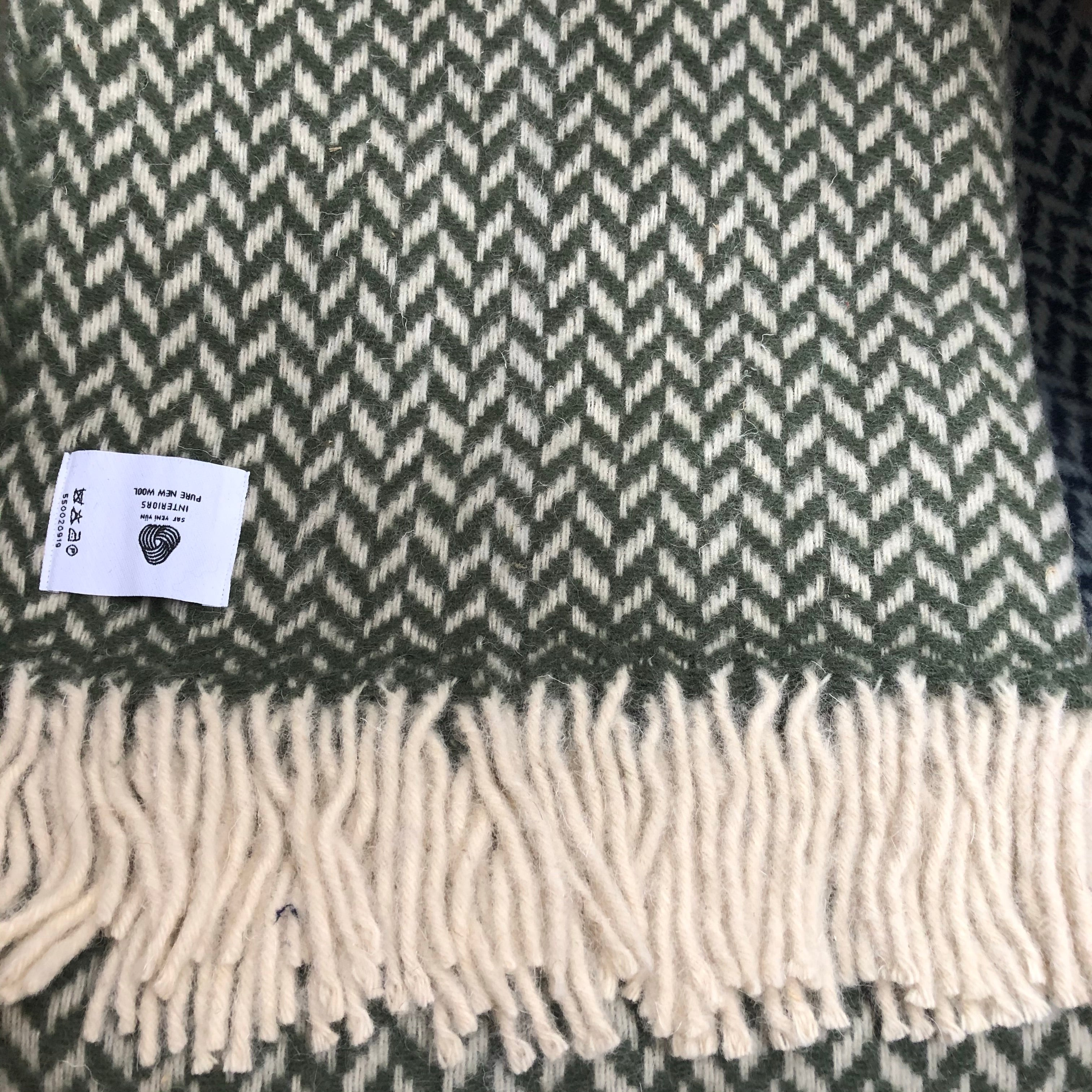 Herringbone Wool Blanket Light Green