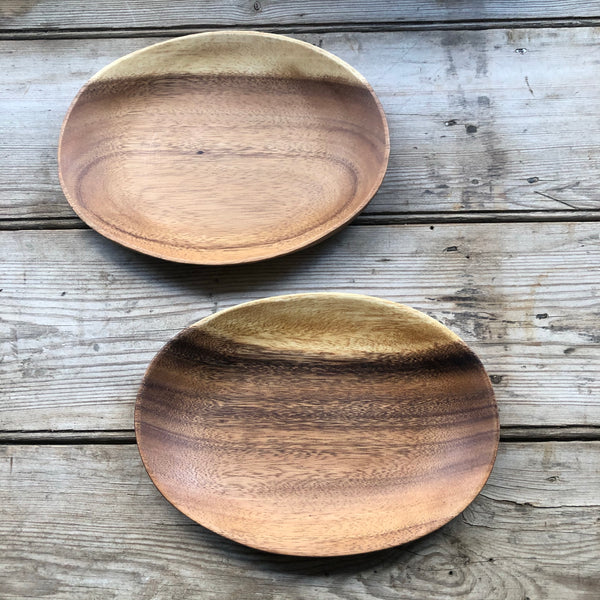Medium Acacia wood oval platter