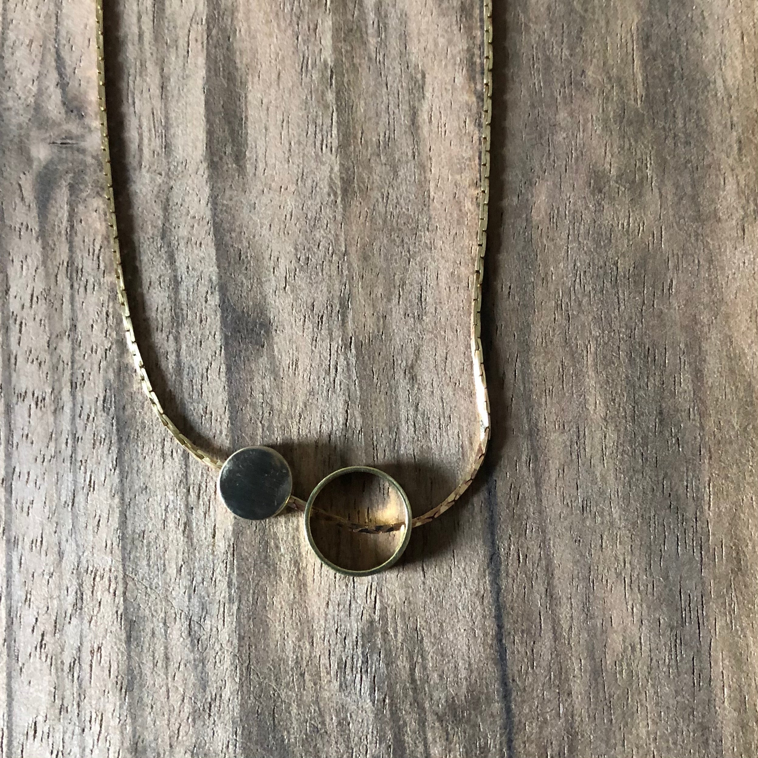 Brass Ring & Disc Necklace