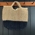 Jute Macrame Shopper - Indigo Block Stripe