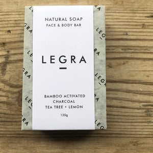LEGRA soap Bamboo Activated Charcoal Soap with Tea Tree & Lemon