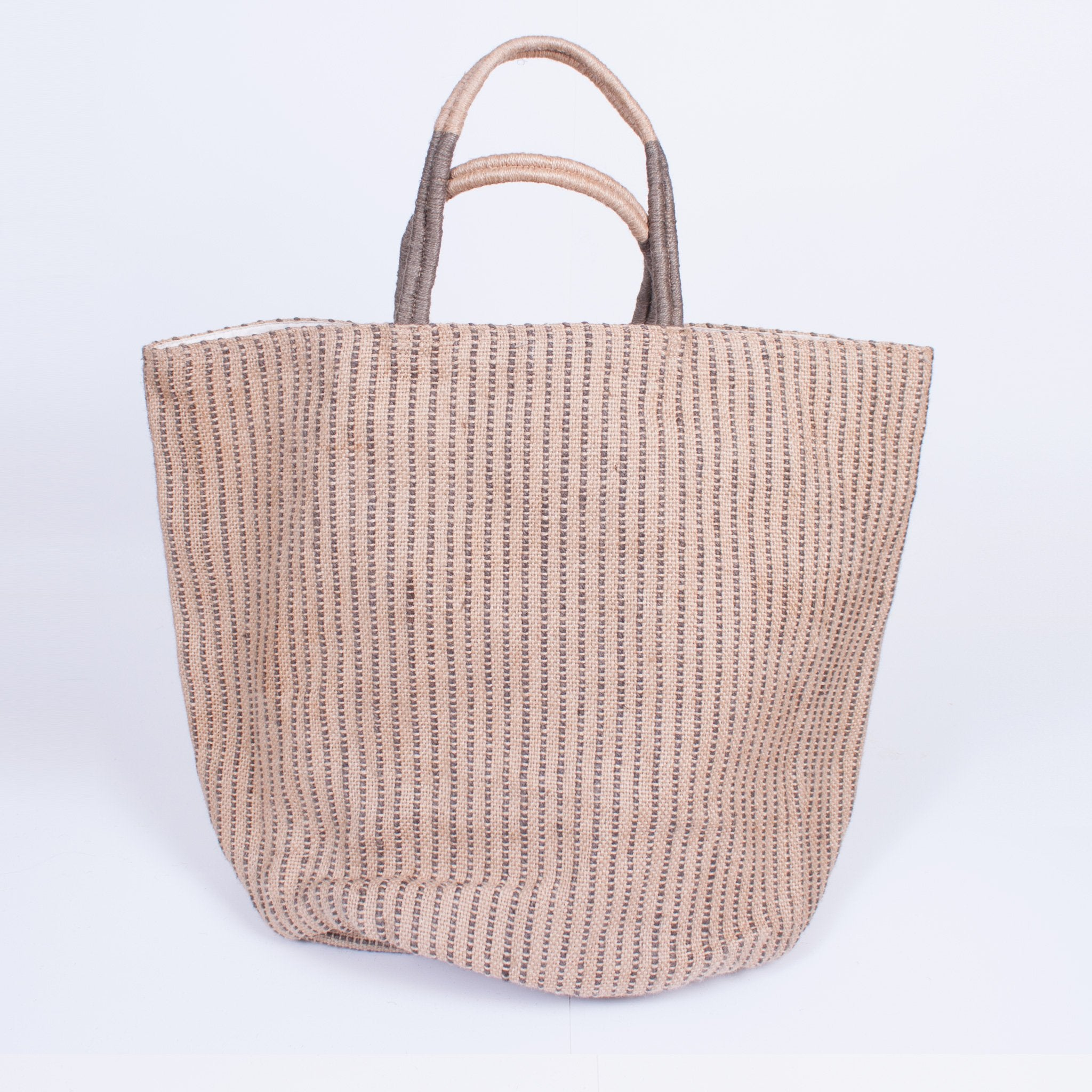 Vertical Stripe Jute Bag