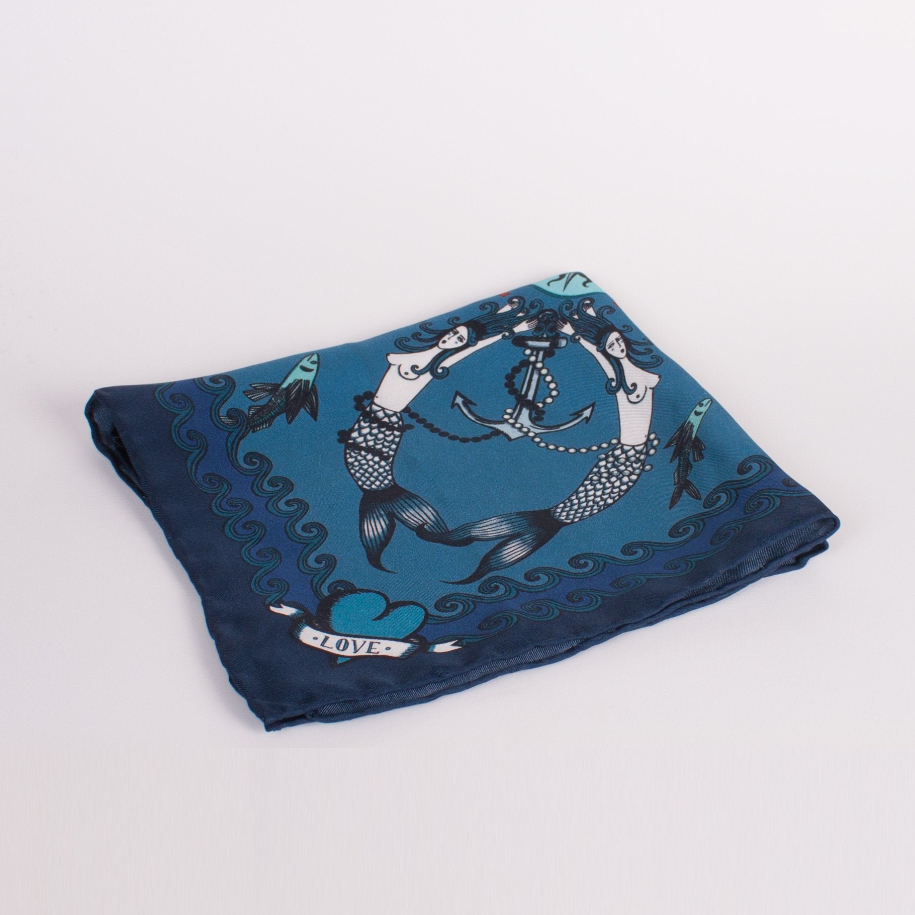 Mermaid Print Silk Square