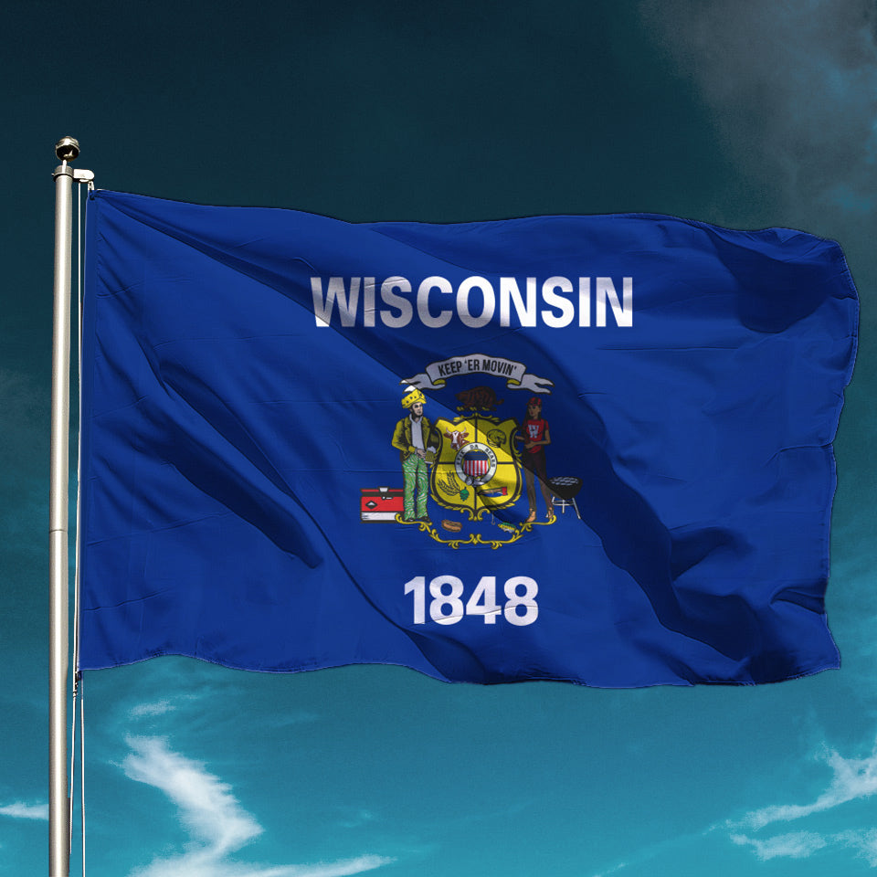Keep Er Movin Wisconsin State Flag Ambient Inks