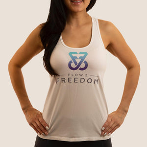 White Flow 2 Freedom Apparel aspire bamboo logo tank