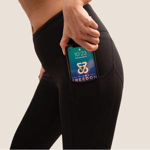 Black Flow 2 Freedom Exhale full length period proof legging side pocket view