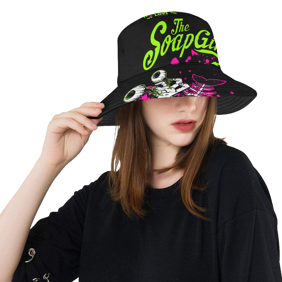 Ladies Black All  Bucket Hat - The SoapGirls