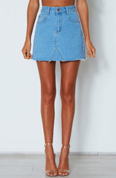 Unforgettable Mini Skirt Blue Denim