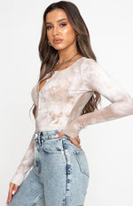 Nothing To Prove Long Sleeve Ribbed Bodysuit Mocha Tie Dye