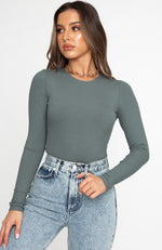 Don't Blame Me Long Sleeve Ribbed Bodysuit Petrol