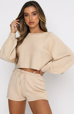 Walk This Way Cropped Knit Beige