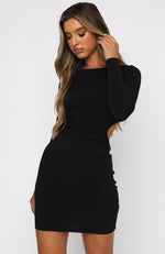 Glimmer Of Light Long Sleeve Mini Dress Black